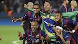 Los jugadores del Barcelona celebran su título en Berlín