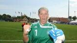 Anna Felicitas Sarholz festeja a vitória da Alemanha em 2009