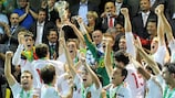 Spain lift the trophy after victory against the Czech Republic