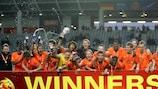 A Holanda festeja a vitória na final do Campeonato da Europa Sub-17, em Ljubljana