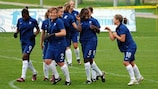 France celebrate one of their eight goals against Moldova