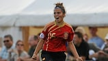 Alba Pomares celebra el tanto de la victoria de España