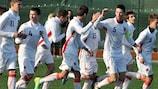 Les joueurs de la République tchèque célébrant un but dans le tournoi moins de 16 ans
