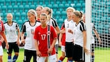 Synnøve Hafnor (centre) scored one of Norway's goals in their 7-0 win against Estonia