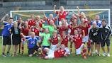 Denmark show their delight at winning Group 10 on home soil