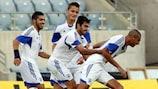 Israel celebrate their opener against Liechtenstein