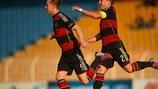 Феликс Пасслак и Йоханнес Эггештайн радуются победному голу в ворота Словении