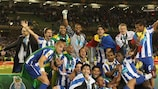 Porto celebrate at the final whistle prior to their triumphant return home on Thursday