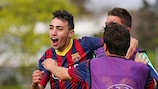 Munir El Haddadi celebrates after scoring against Schalke in the semi-finals