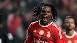 Renato Sanches celebrates his first senior goal for Benfica earlier this month