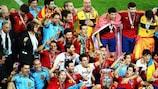 La selección española celebra su conquista de la UEFA EURO 2012