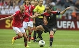 Caroline Graham Hansen (left) faced future club-mate Nadine Kessler in the UEFA Women's EURO 2013 final