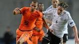 Adam Maher (left) ha segnato contro la Germania agli Europei Under 21 dello scorso mese
