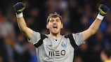 Iker Casillas celebrates a Porto goal during the group stage