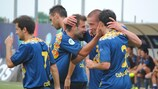 Каталонцы празднуют гол Антонио Домингеса