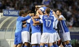 Carlos Vela is mobbed by his team-mates and La Real substitutes