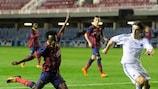 Ebwelle (left) shoots during Barcelona's 4-1 round of 16 victory against København