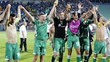 Ludogorets salute their supporters at full time