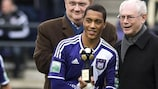 Youri Tielemans receives Belgium's best newcomer award at Anderlecht in January