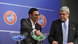 Ankara coach Mustafa Özer and Sándor Csányi conduct the 2017 UEFA Regions' Cup qualifying draw