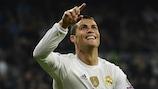 Cristiano Ronaldo celebrates one of his four goals against Malmö