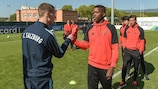 Benfica and Salzburg tackled the UEFA Youth League skills challenge ahead of the final