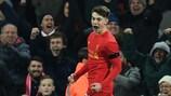 Ben Woodburn celebrates scoring for Liverpool against Leeds