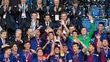 El Barcelona festeja su segundo título de la Youth League