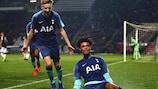 Tottenham celebrate opening the scoring against PAOK