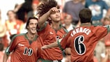 Portugal's scorer Fernando Couto (centre) takes the acclaim after his strike