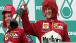 Michael Schumacher celebra el Gran Premio de Malasia en 2000