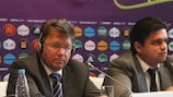 Martin Kallen y Markiyan Lubkivskyi en la rueda de prensa del lunes, celebrada en Kiev