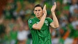 Keith Andrews applauds the fans after Ireland's 4-0 loss to Spain