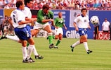 Ray Houghton fires in the winner against Italy at the 1994 FIFA World Cup