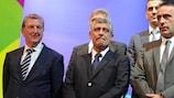 Roy Hodgson, Fernando Santos e Paulo Bento durante o sorteio do Campeonato do Mundo