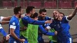 La Grecia esulta per un gol di Kostas Mitroglou