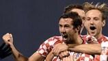 Kroatiens Kapitän Darijo Srna feiert seinen Treffer