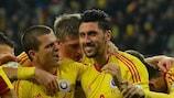 Ciprian Marica celebra el segundo gol de Rumanía