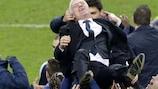 Didier Deschamps held aloft after France's success against Ukraine
