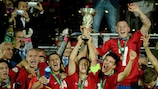 Serbia captain Marko Pavlovski and his team-mates get their hands on the prize
