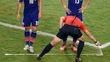 Referee Pedro Proença using vanishing spray paint at the FIFA World Cup finals