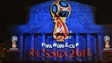 The 2018 FIFA World Cup logo is projected on to the Bolshoi Theatre