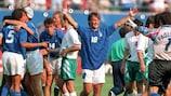 Italy celebrate their 1994 win against Bulgaria