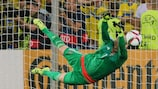 Sweden's Patrik Carlgren saves a penalty during the final shoot-out