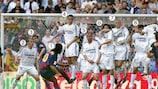 Snap shot: Barcelona's Ronaldinho fires a free-kick against Real Madrid