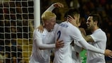 England celebrate a goal in their 3-1 win against finals opponents Portugal