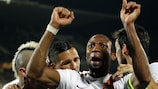 Seydou Keita after heading Roma's equaliser in Florence