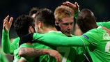Kevin De Bruyne (centre) enjoys his second goal for Wolfsburg