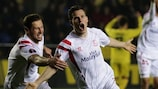 Kevin Gameiro is delighted after crashing in Sevilla's third