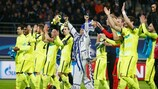 Gent celebrate reaching the UEFA Champions League round of 16